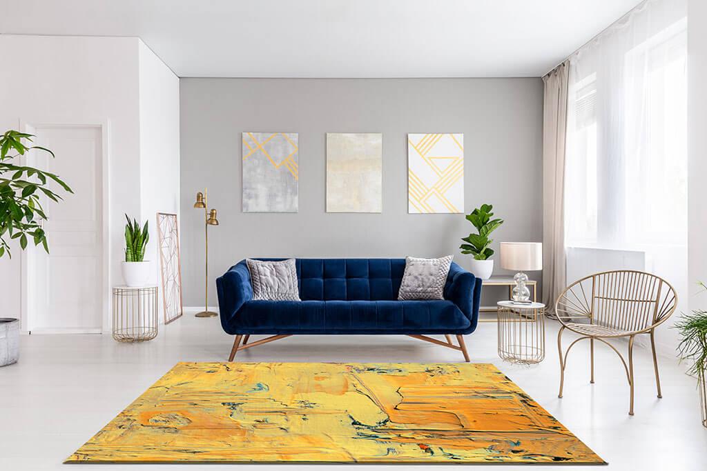 individueller Teppich gelb Wohnzimmer modern