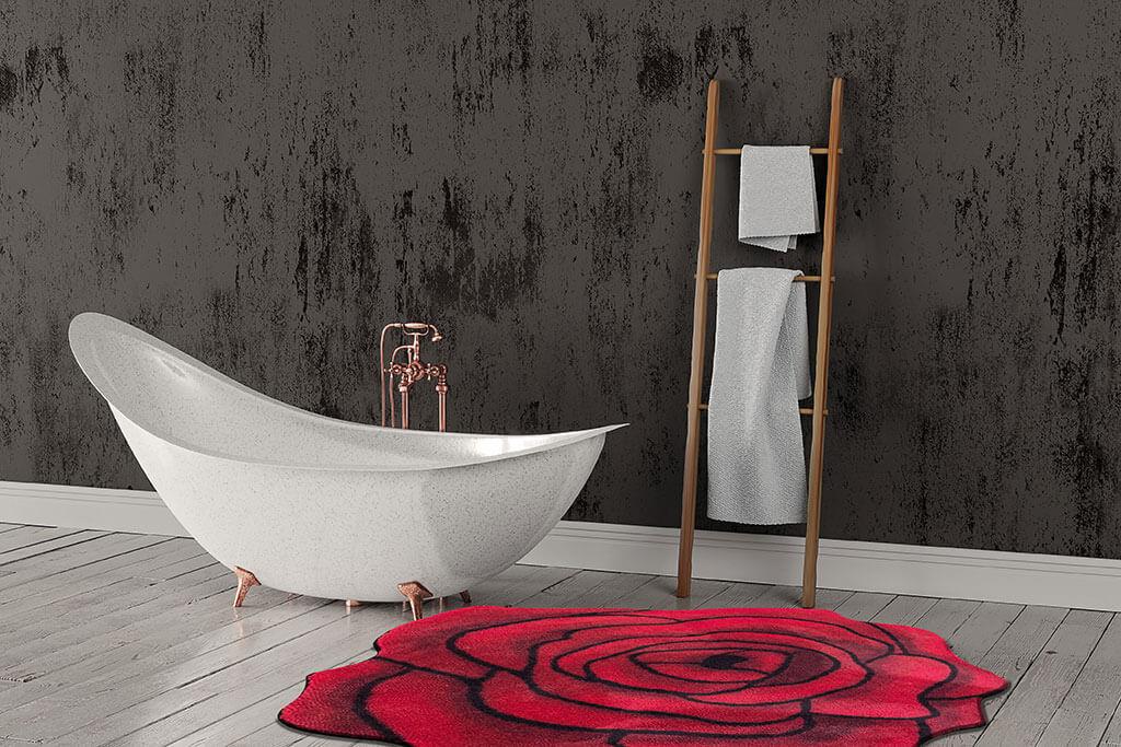 Individuelle Matte im Badezimmer Rose Rot